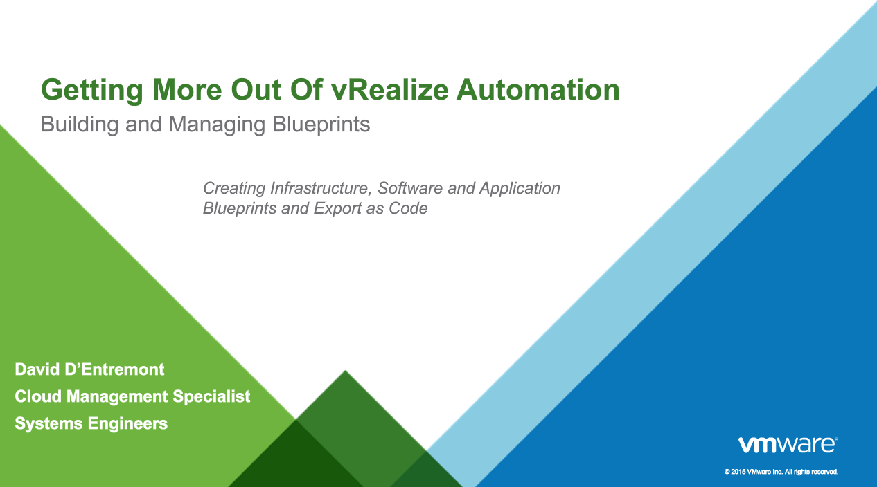 Getting more out of vrealize automation 7 building and managing getting more out of vrealize automation 7 building and managing blueprints malvernweather Images
