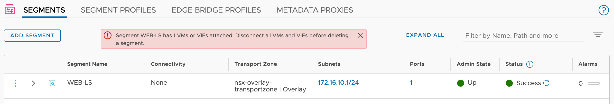 How to force delete an NSX-T 3 Segment