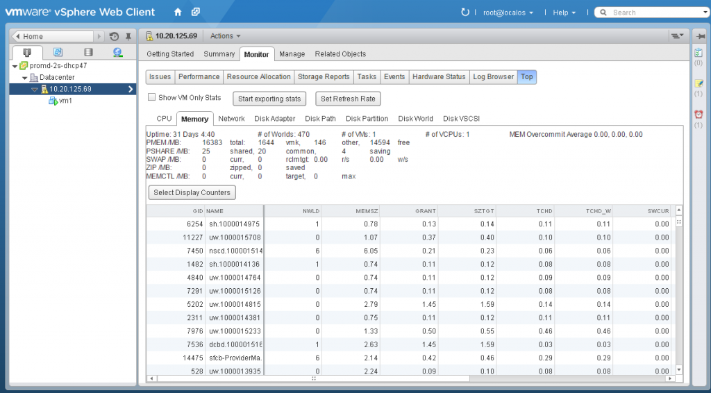 Latest Fling from VMware Labs - ESXtop for the vSphere Web